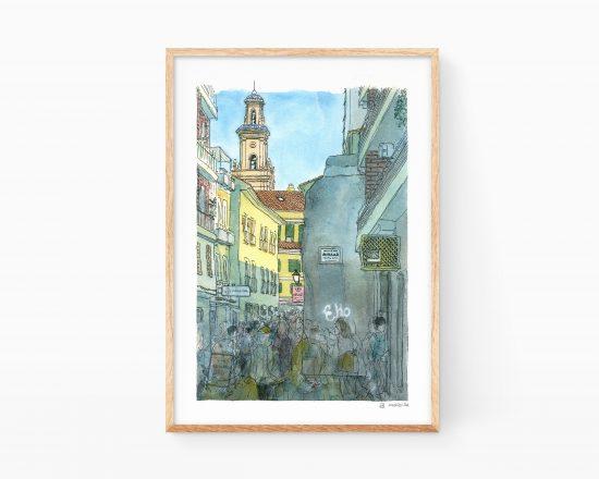 Cuadro para enmarcar con una ilustración en acuarela del Carrer de la Delicada en Gandia, Valencia. Colegiata y zona comercial