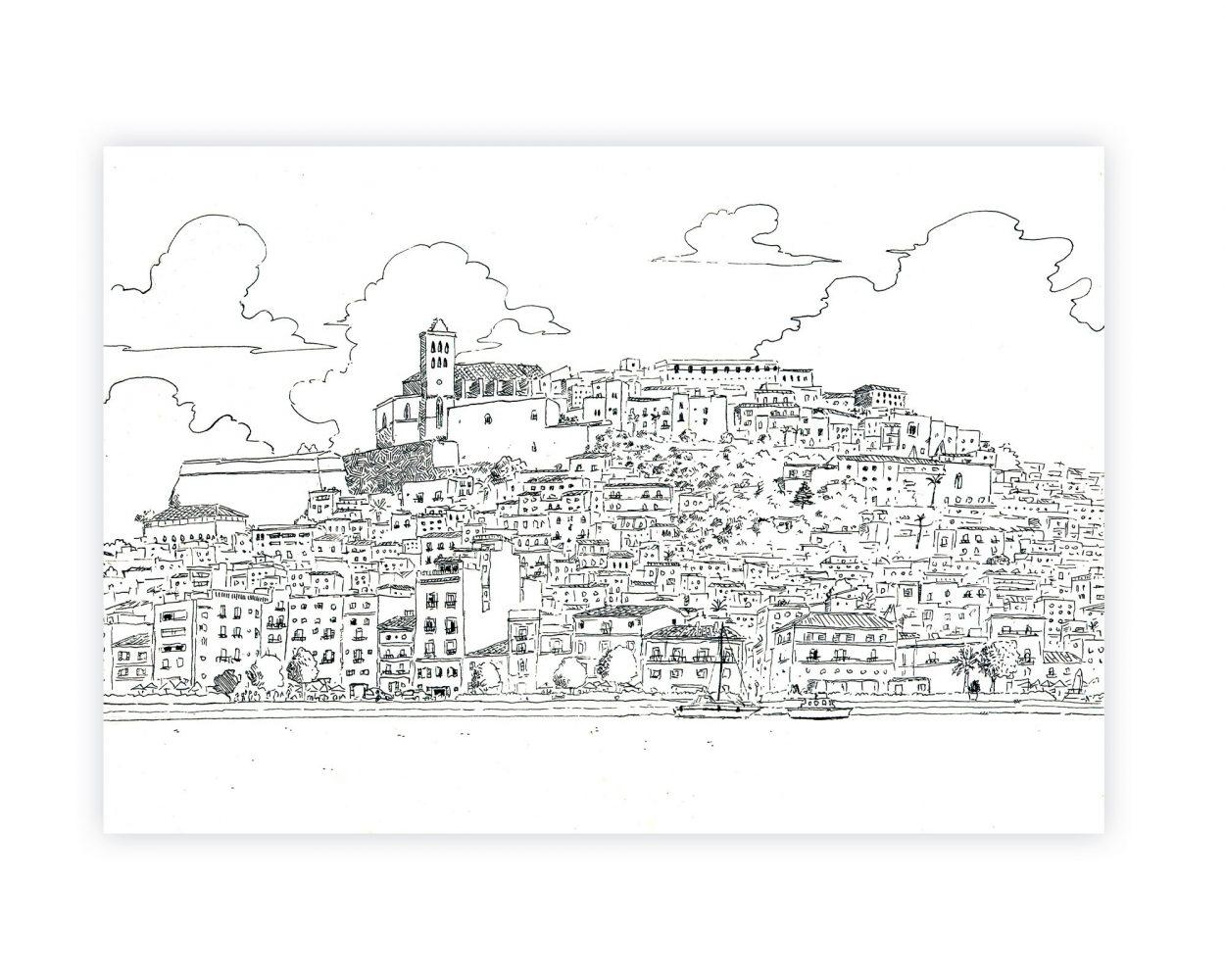 Dibujo en tinta sobre papel del complejo arquitectónico de Dalt Vila en la isla de Ibiza. Islas Baleares, España. Mediterréneo. Paisaje urban sketchers