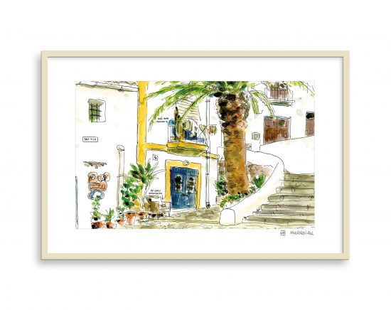 Lámina dibujo callejón dalt vila, ibiza
