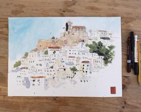 Boceto en acuarela de Dalt Vila, Ibiza. Dibujo rápido. Urban Sketchers. Baleares. España