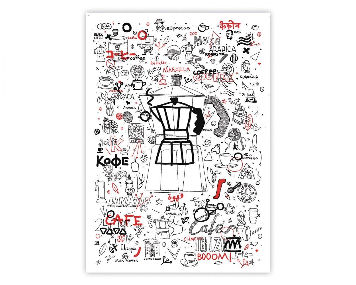 Ilustración con diferentes dibujos relacionados con el café: cafetera, lavazza, bialetti, cafés climents, illy...