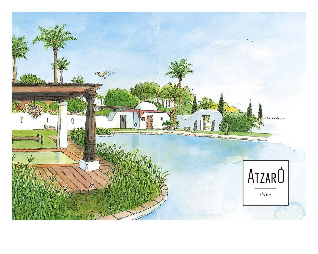 Dibujo en acuarela del hotel rural de lujo Hotel Atzaró en la isla de Ibiza. Baleares. España. Mar mediterráneo. Paisajes