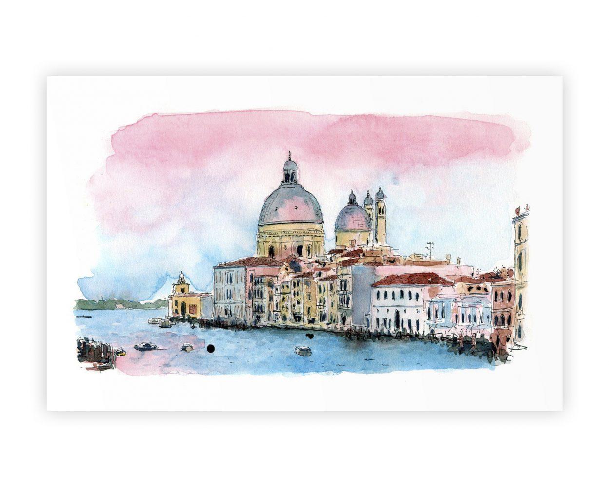 Dibujo en tinta y acuarela de un atardecer en un canal de Venecia. Ilustración urban sketchers.