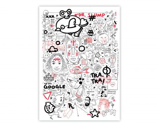 Dibujo en blanco y negro en tinta y rotulador rojo sobre papel