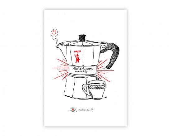 Dibujo con una ilustración de la cafetera italiana Bialetti. Dibujada con plumilla y rotuladores