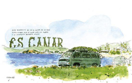 Dibujo de una furgoneta en la playa frente a Xirincana. Es Canar en Ibiza. Islas Baleares.
