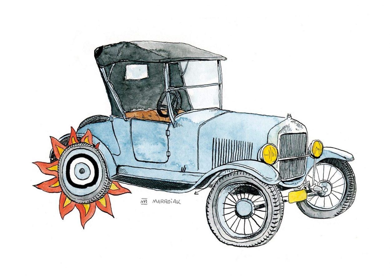 Dibujo en tinta y acuarela sobre papel de un coche antiguo Ford T. Vehículos vintage