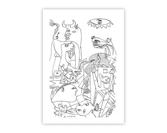 Lámina con una ilustración del Guernica del artista malagueño Pablo Picasso. Dibujo en papel línea fina