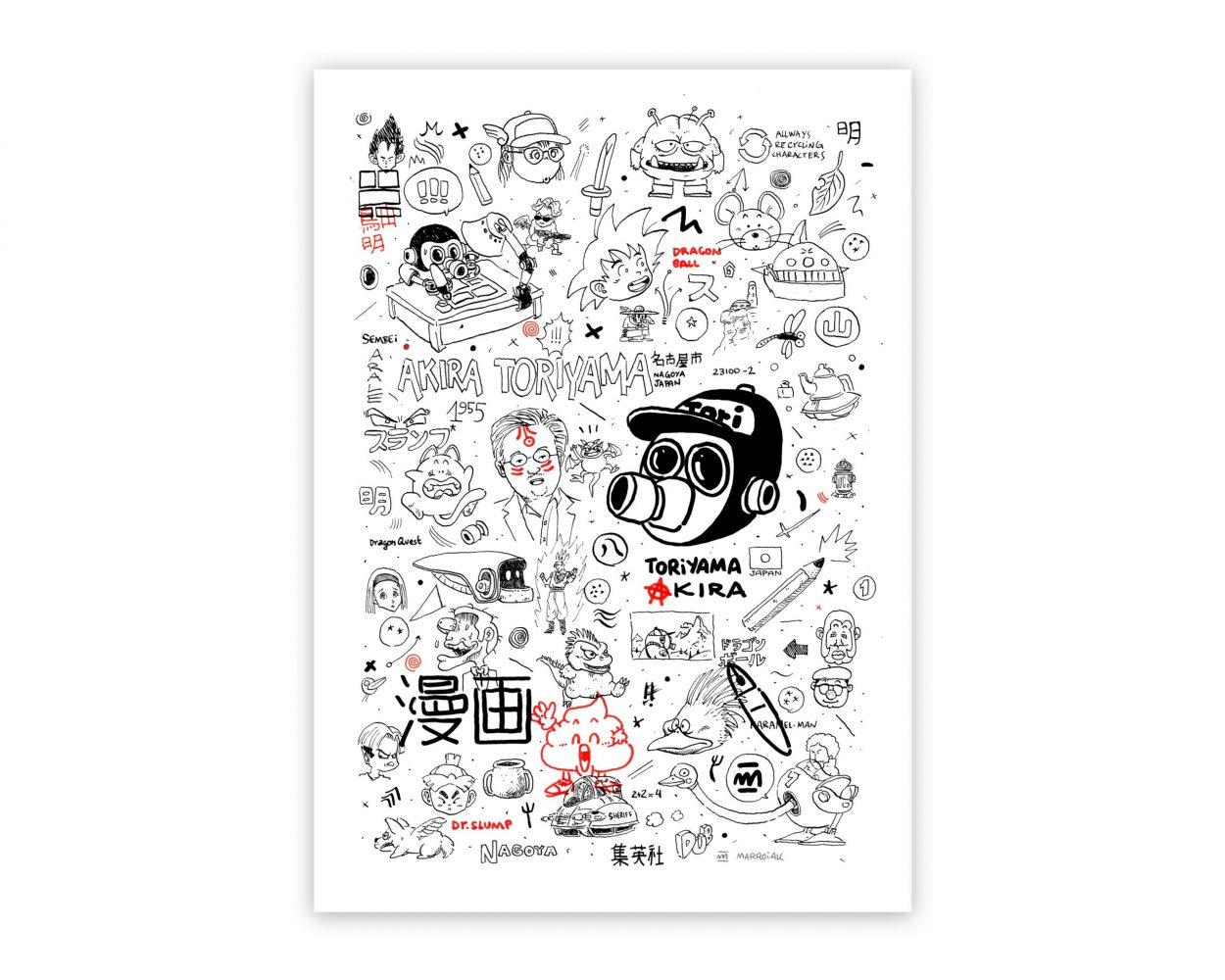 Dibujo con un retrato psicológico del dibujante de manga japonés Akira Toriyama, autor de cómics como Dragon Ball, Dr, Slump, Dragon Quest y muchos otros.