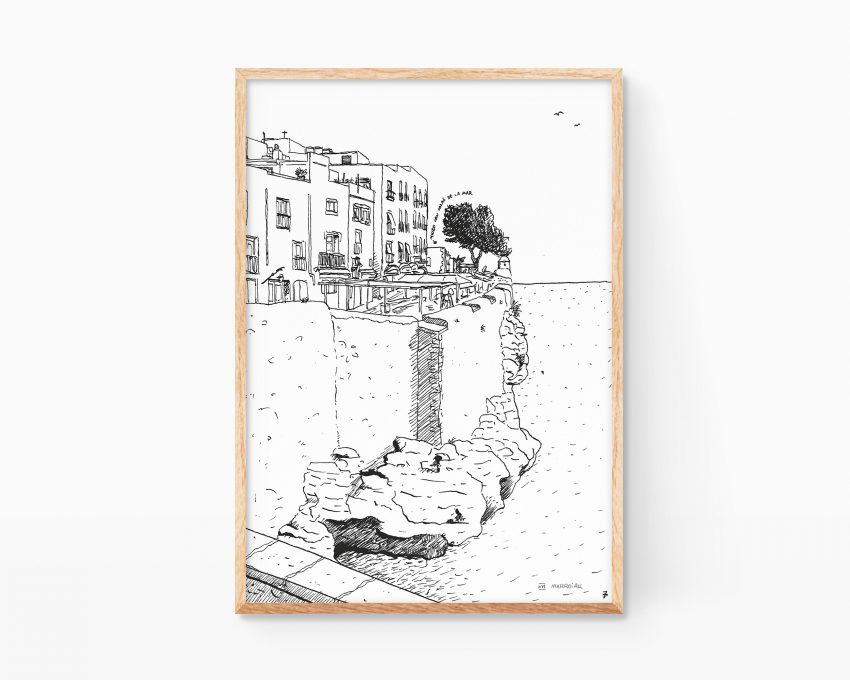 Ilustración decorativa para enmarcar con un paisaje de Peñíscola en provincia de Valencia. Dibujo estilo urban sketchers.