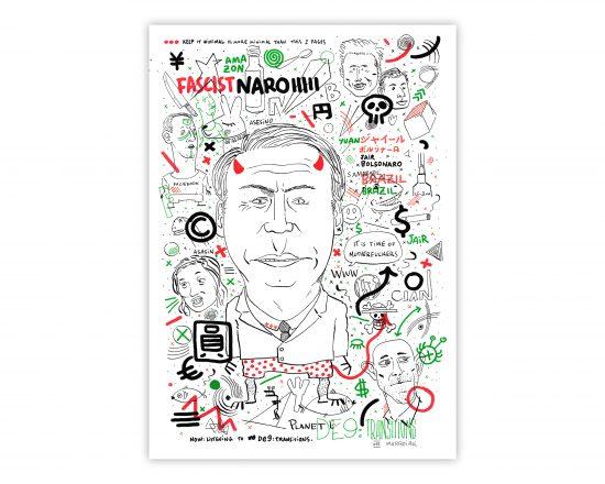 Dibujo con un retrato en blanco, negro, verde y rojo del presidente de Brasil Bolsonaro