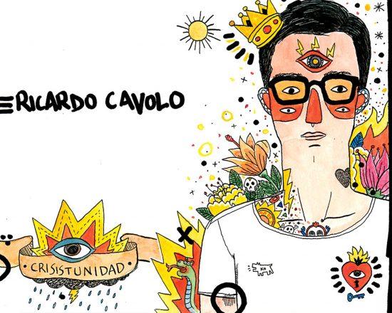 Dibujo con un retrato del ilustrador Ricardo Cavolo. Acuarela y tinta sobre papel