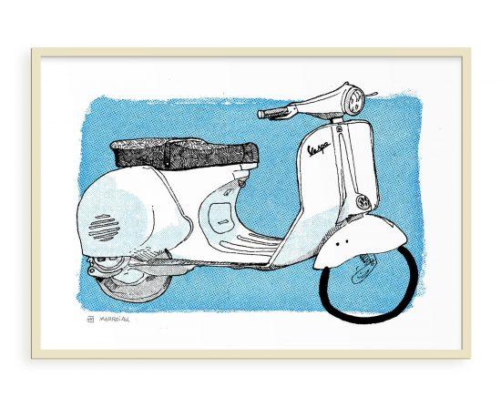 Ilustración de una scooter vespa. Modelo italiano antiguo años 50. Vintage