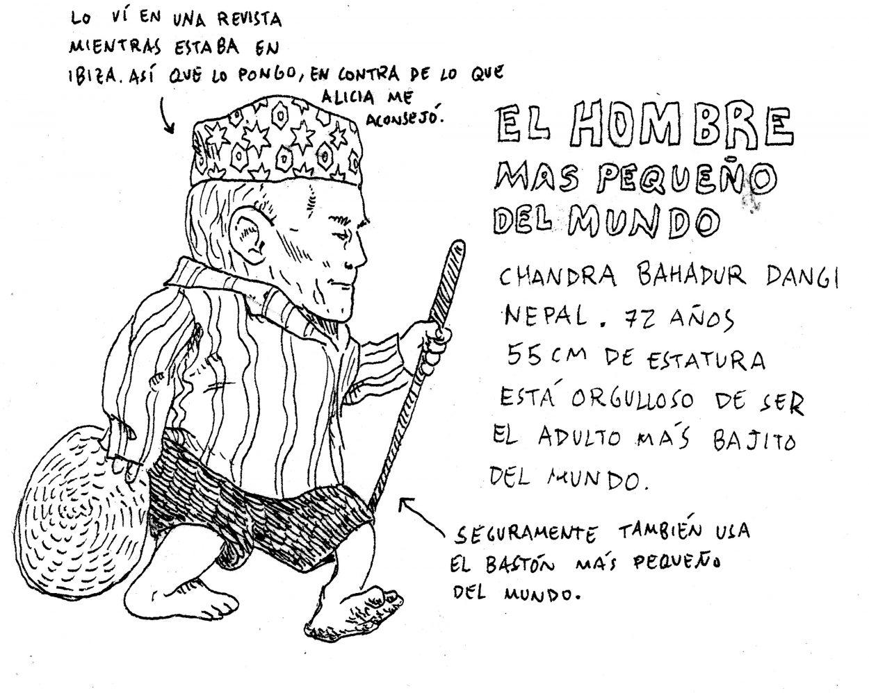 Dibujo en blanco y negro del hombre más pequeño del mundo