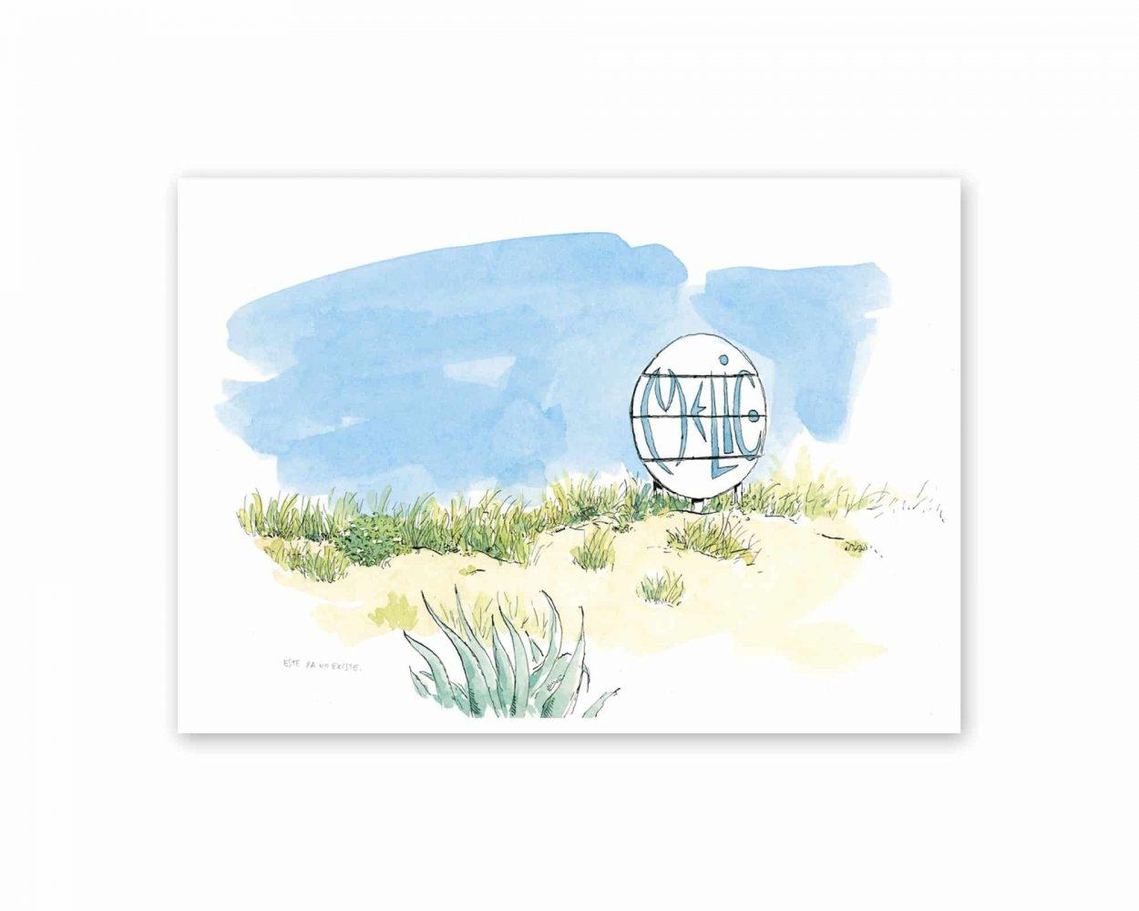 Lámina con acuarela del xiringuito melic en la playa de oliva, valencia