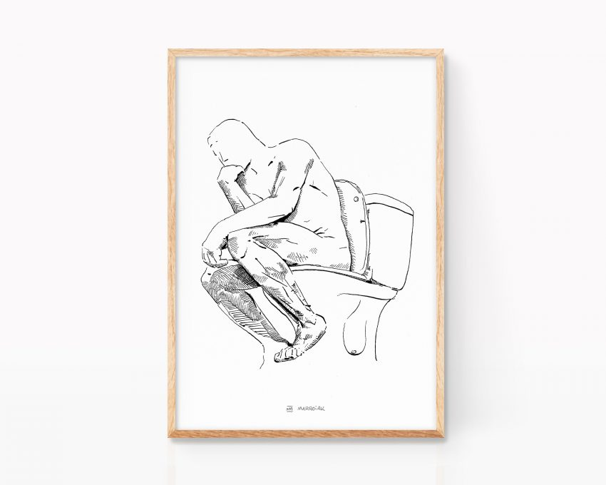 Lámina decorativa para enmarcar con una ilustración de la escultura de Lámina con un dibujo en blanco y negro del pensador de Auguste Rodin El Pensador. Dibujo para decoración Arte contemporaneo