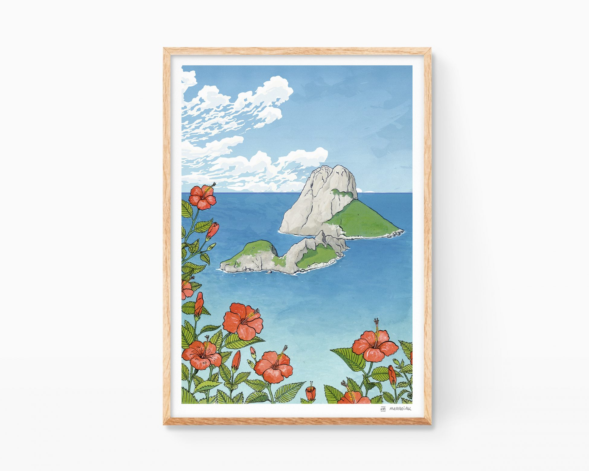Cuadro decorativo con una ilustración en acuarela y tinta del islote de Es Vedrà i Es Vedranell en la isla Balear de Ibiza, Mediterráneo. Lámina decorativa.