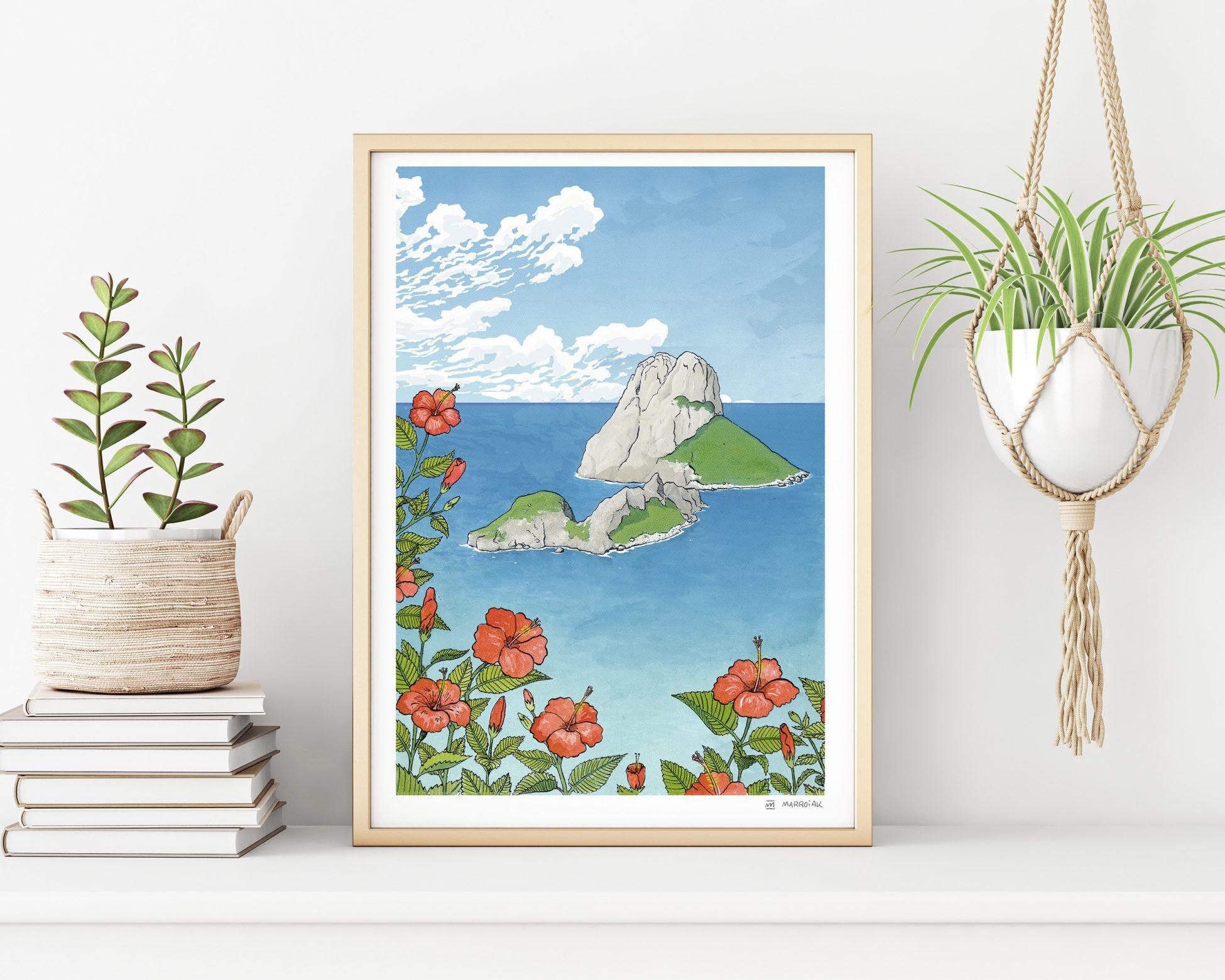 Cuadro con una ilustración de Ibiza