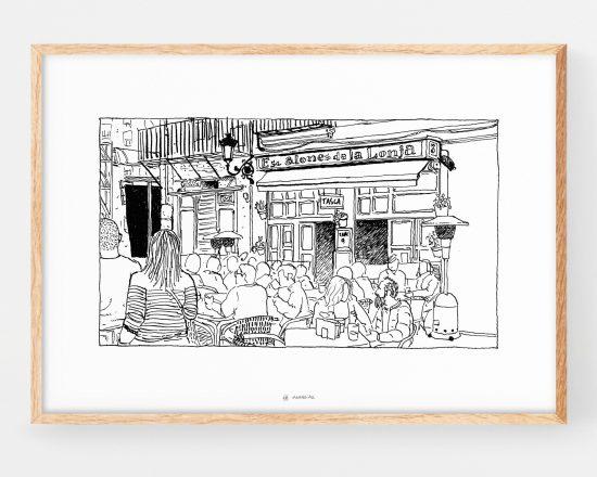Cuadro con un boceto de los escalones de la lonja en la ciudad de valencia. Dibujo rápido. Ilustraciones urbanas. Bar