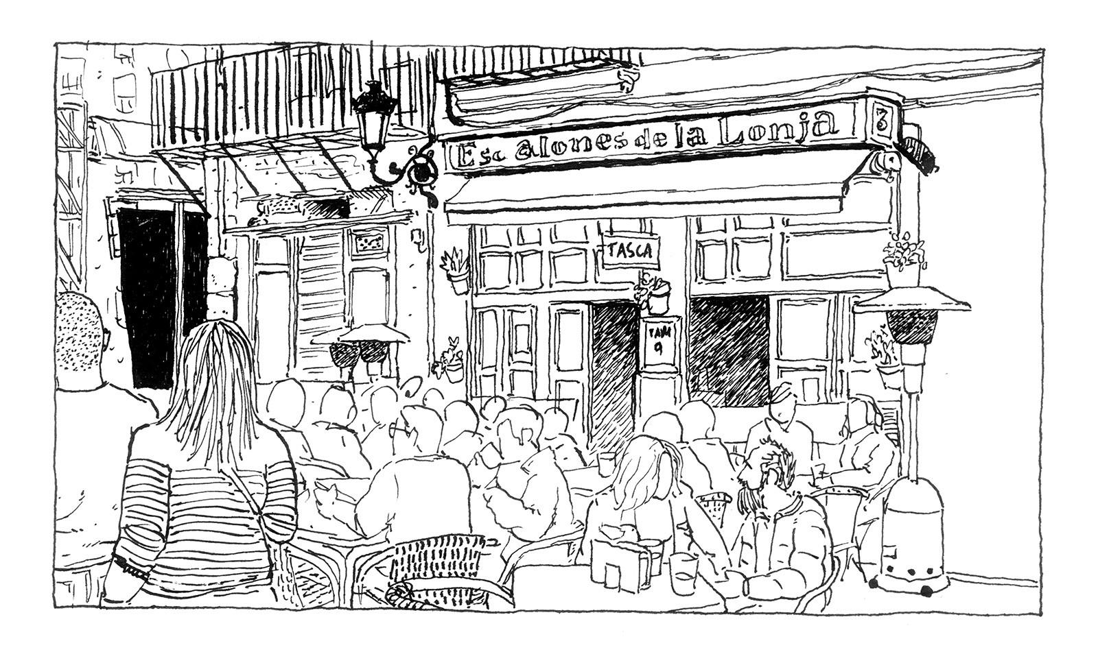 Dibujo en blanco y negro del bar Los Escalones de la lonja en Valencia
