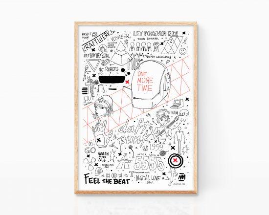 Lamina decorativa con una ilustración de daft punk, kraftwerk y chemical brothers. Cuadro música electronica. Arte urbano, punk, grunge