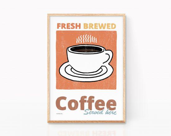 Lámina decorativa para cocina con una Ilustración de una taza de café. Pintura vintage. Dibujo simple