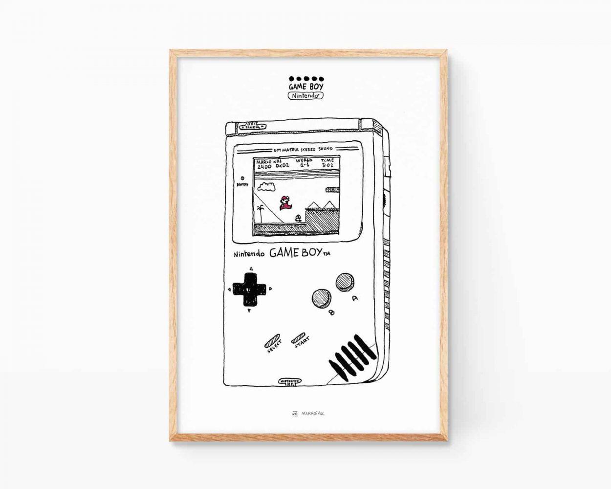 Lámina decorativa para enmarcar con un dibujo en blanco y negro de una nintendo game boy y el juego super mario bros. Cuadros de decoración de videojuegos de los años 80. Nostalgia