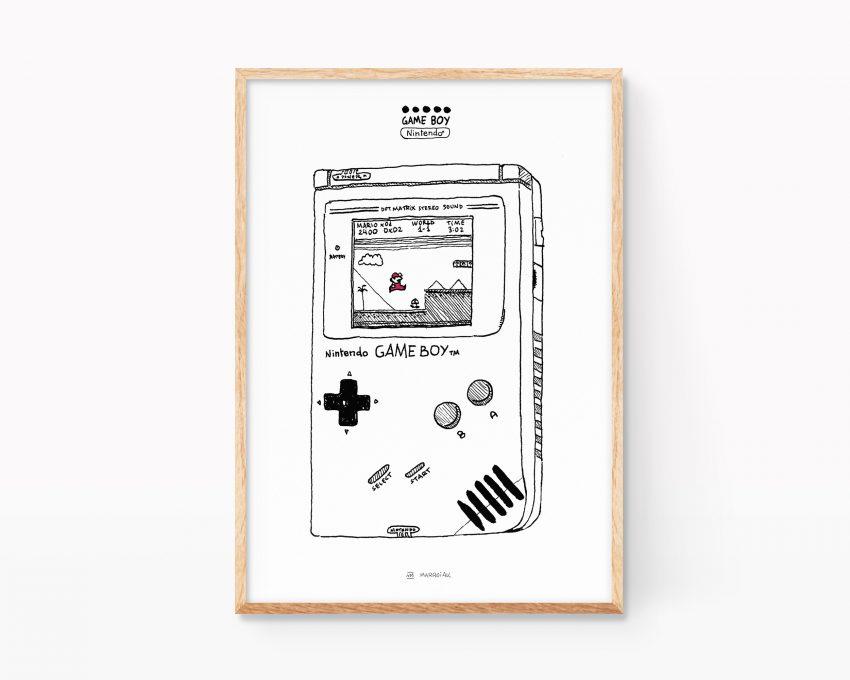 Lámina decorativa para enmarcar con una ilustración en blanco y negro de una nintendo game boy y el juego super mario bros. Cuadros de decoración de videojuegos de los años 80. Nostalgia