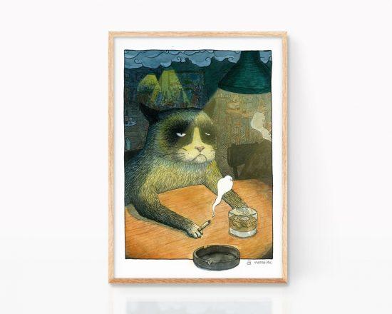 Lámina decorativa para cocinas y salones con una ilustración en acuarela de un gato borracho tomando un whisky en un pub. Retrato de animales. Perros jugando al pocker