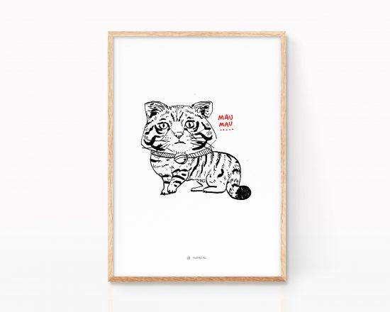 Ilustración en blanco y negro de un gato. Estilo abocetado punk y grunge.