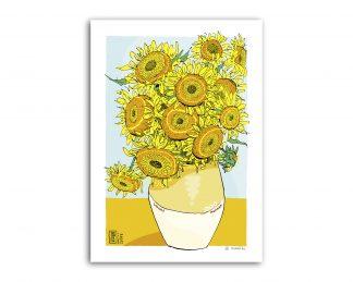 Lámina dibujo de los Girasoles de Van Gogh