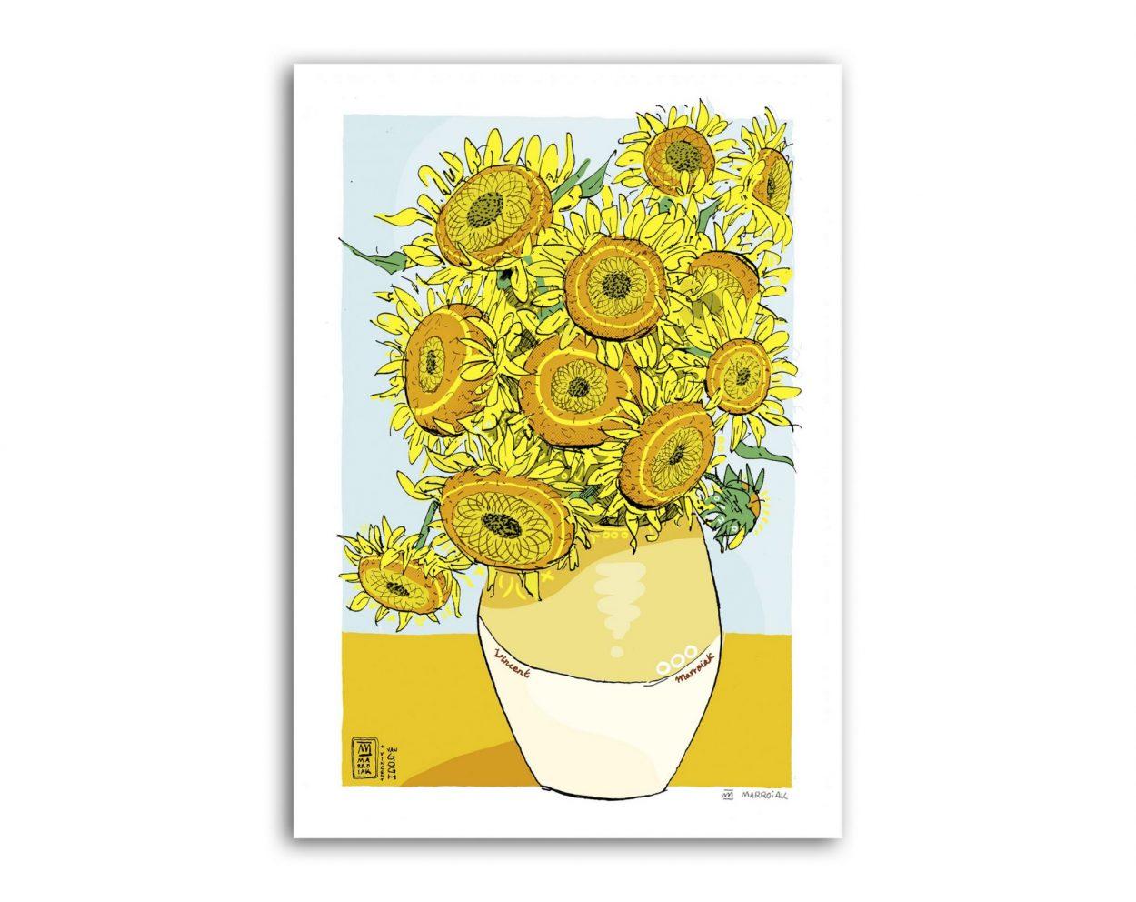 Lámina dibujo de los Girasoles de Van Gogh ReWork