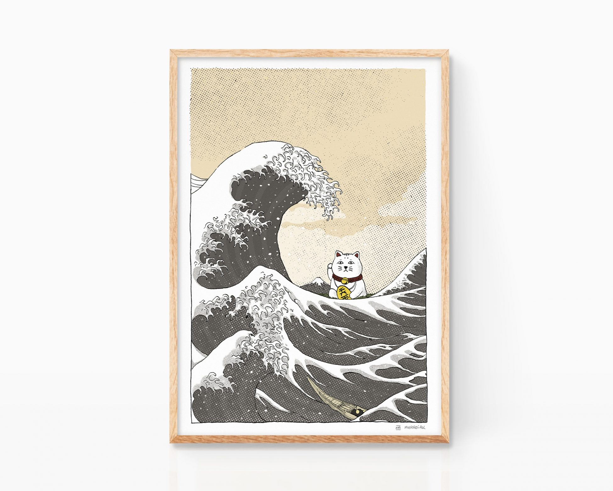 Cuadro para enmarcar con una Ilustración ukiyo-e con la gran ola de kanagawa de hokusai. Estampado japonés. Versión Art Remixes