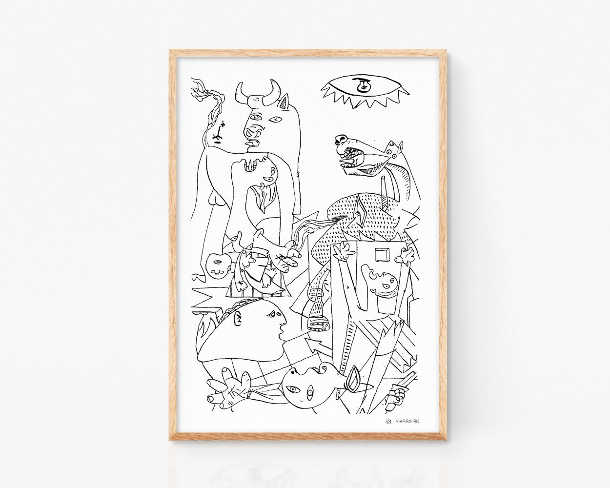 Lámina Print con una ilustración del Guernica, la pintura más famosa del artista Pablo Picasso. Cuadro cubista. Art Remixes
