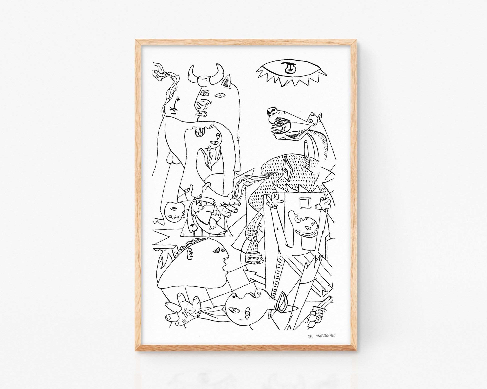 Lámina print con una ilustración del Guernica, la pintura del artista Pablo Picasso. Cuadro abstracto cubista. Art moderno remezclado