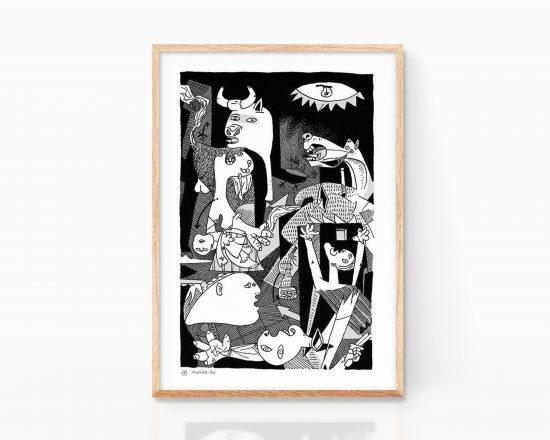 Lámina con una ilustración del Guernica, una de las obras de arte más conocidas de Pablo Picasso. Cuadro para enmarcar con poster abstracto cubista