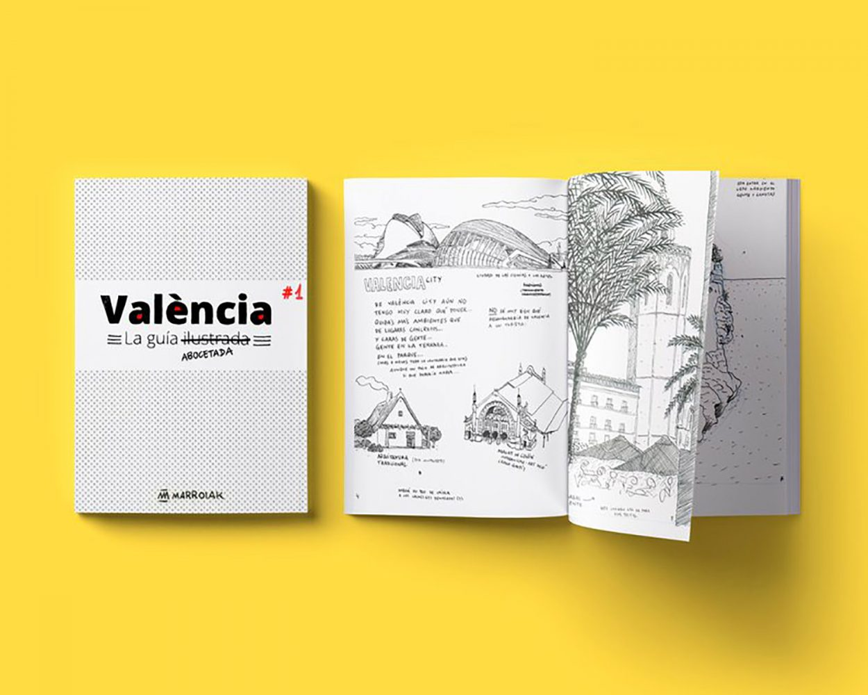 Revista con dibujos de la provincia de Valencia. Cómic con bocetos e ilustraciones.