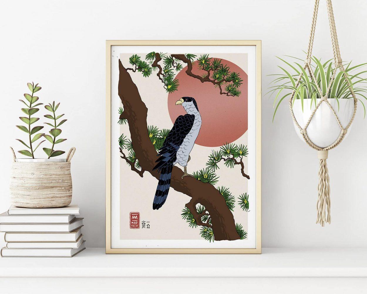 Versión de la obra de arte japonesa Halcón sobre una rama de pino. Ilustración en tinta sobre papel. Arte japonés estampa ukiyo-e