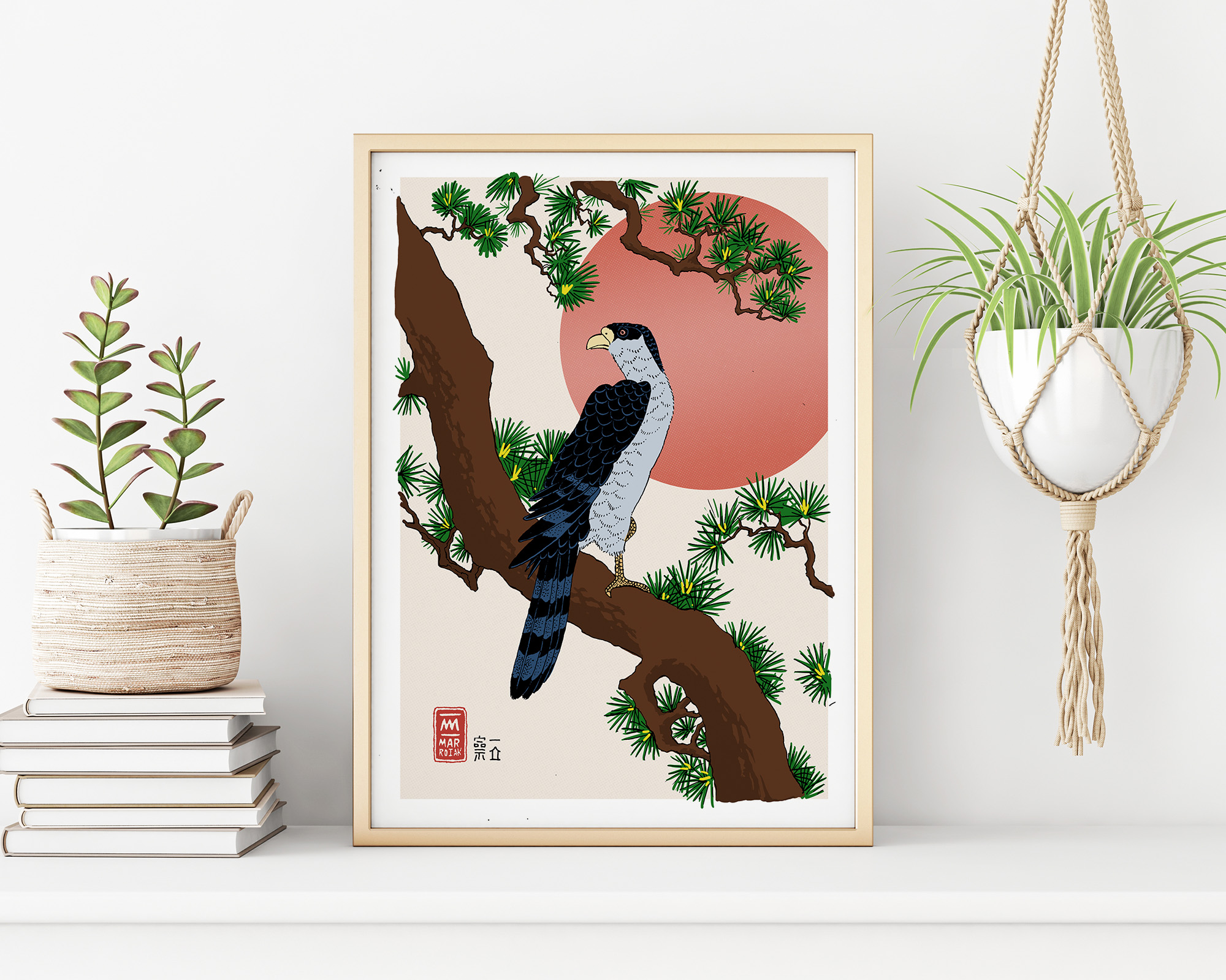 Hawk on a pine branch UKIYOE print