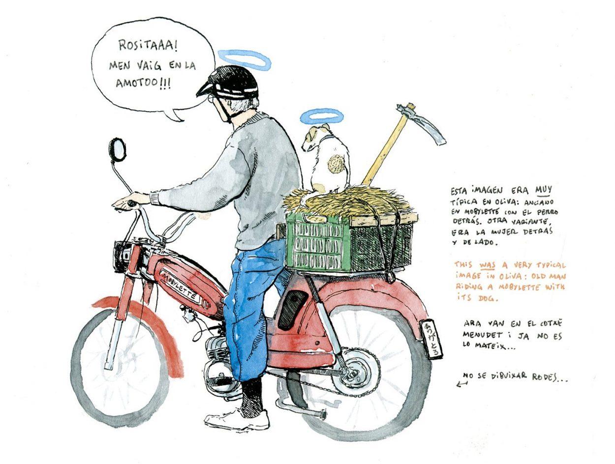 """Ilustración en acuarela de un """"uelo"""" en una mobylette con un perro sentado en la parte de atrás."""