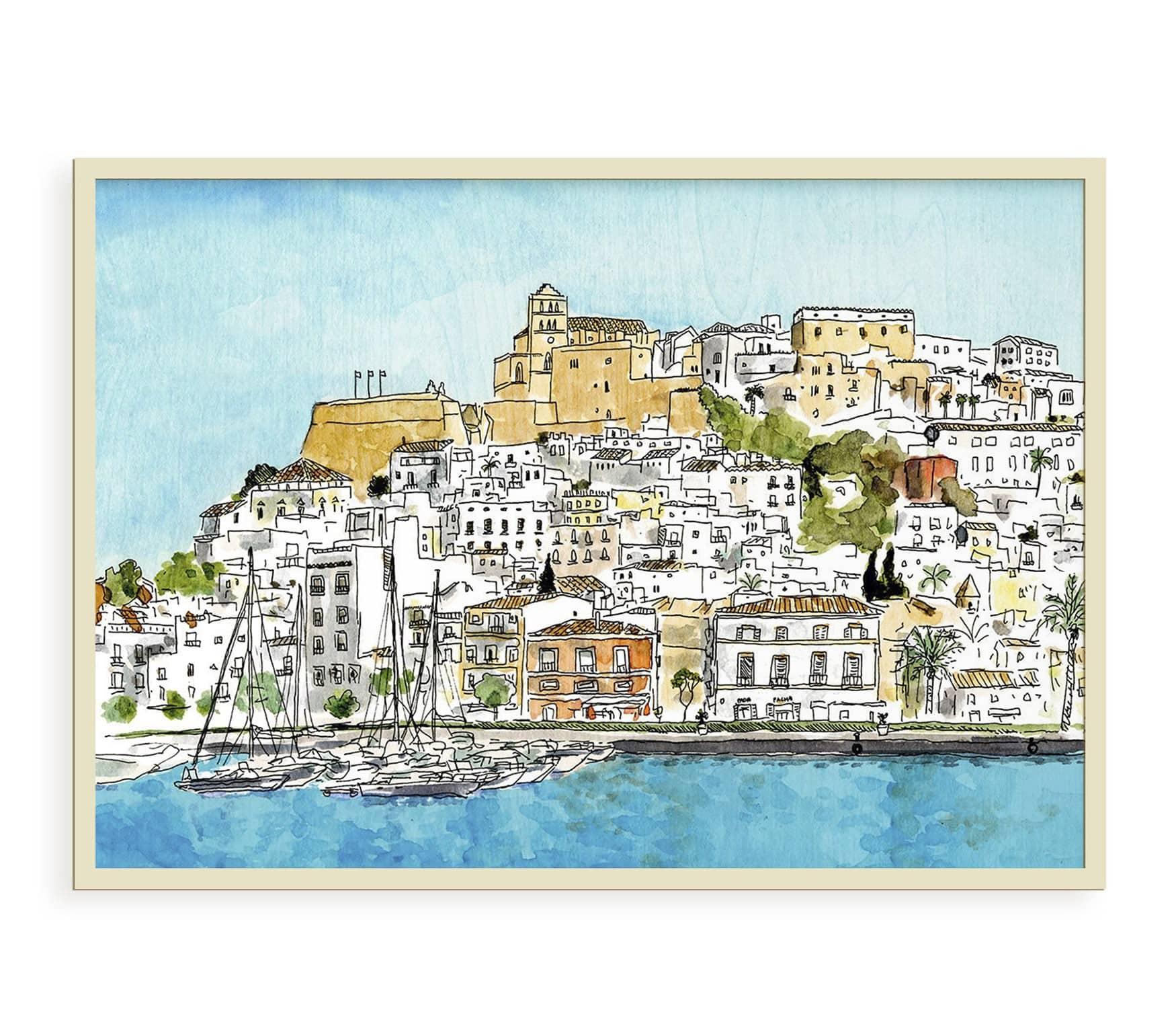 Lámina con el dibujo de Dalt Vila en la isla de Ibiza, Baleares, España. Ilustración en acuarela y tinta sobre papel. Impresión digital