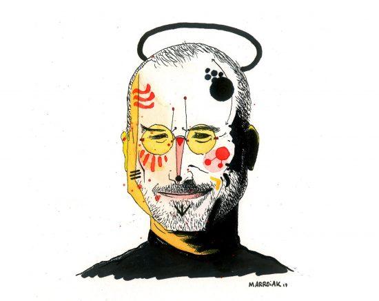 Retrato dibujo acuarela y tinta sobre papel Steve Jobs