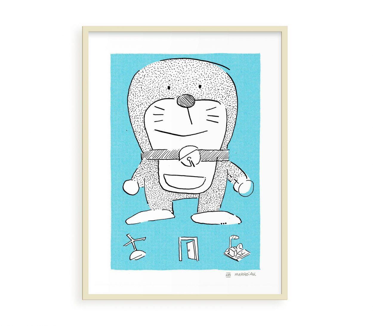 Una lámina con una ilustración cutre de Doraemon