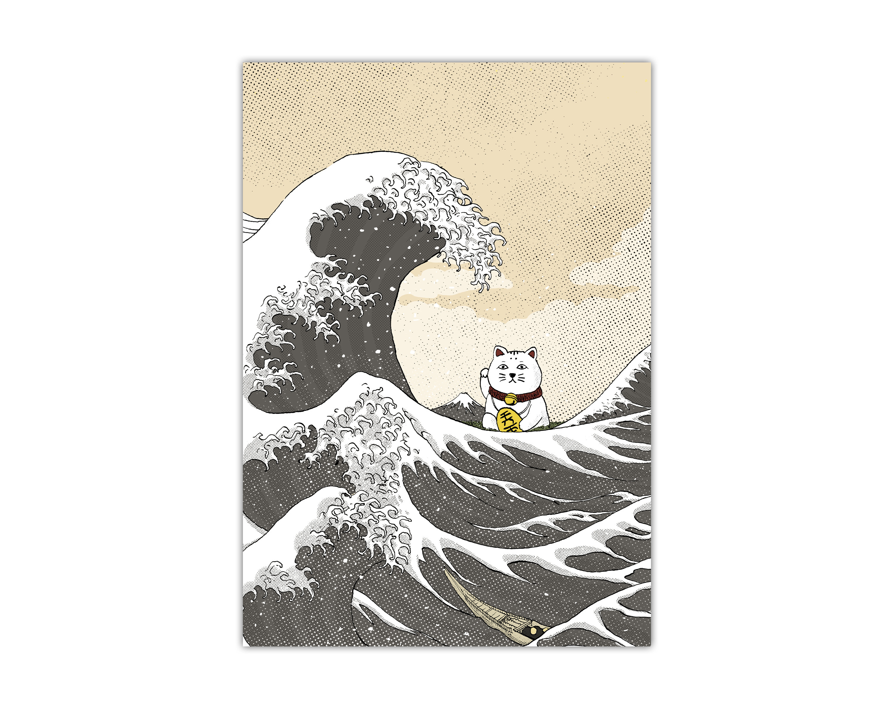 Lámina con una ilustración de el gato de la suerte (maneki neko) y el dibujo de La Gran Ola de Hokusai
