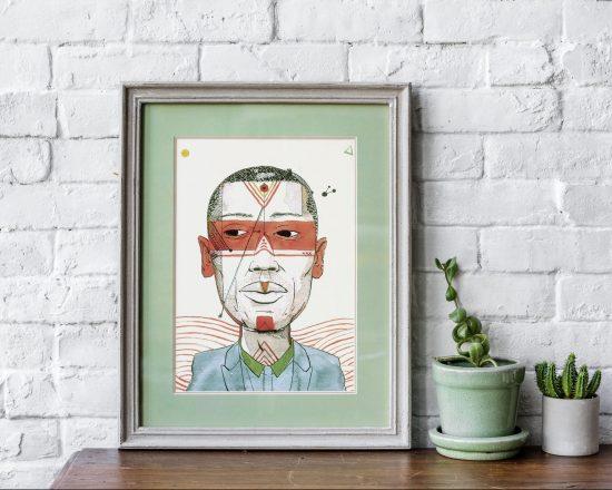 Ejemplo de dibujo. Retrato ilustrado en tinta y acuarela sobre papel.