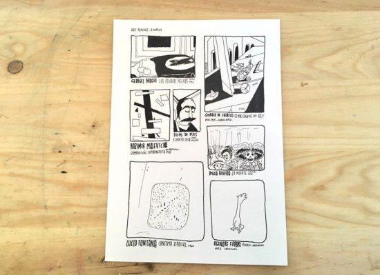 Ilustración original del comic en blanco y negro Art Remixes con dibujos hechos a tinta sobre papel