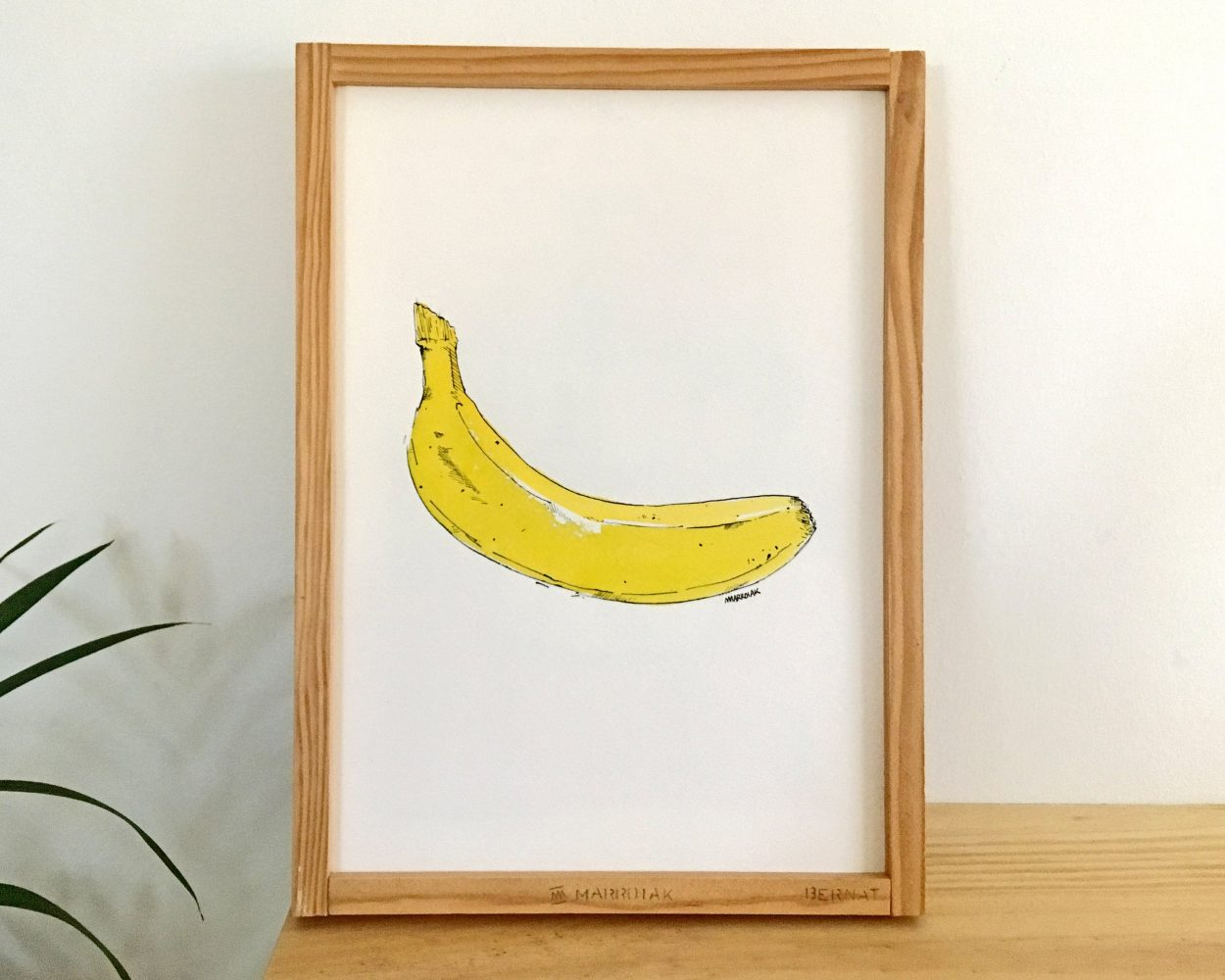 Dibujo original enmarcado de un plátano o banana en acuarela y tinta sobre papel - Recuerda al de la Velvet Underground de Andy Warhol