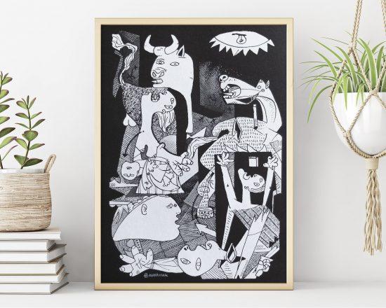 Cuadro decorativo con una serigrafía del guernica de Pablo Picasso en vertical. Arte cubista contemporaneo. Obra original. Comprar online