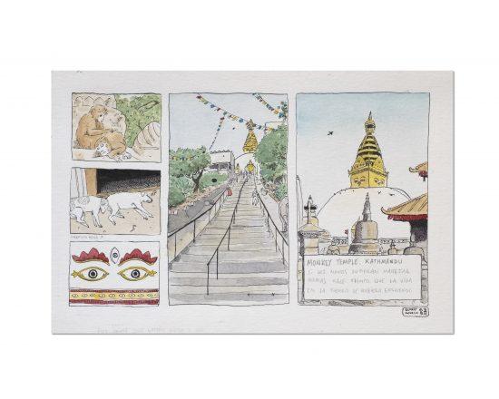Dibujo original en tinta y acuarela sobre papel de la ciudad de Katmandú en Nepal. Aparecen un perro, una stupa y unos monoos