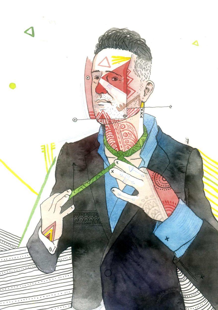 Retrato con un dibujo en acuarela y tinta sobre papel del músico uruguayo Jorge Drexler